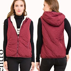 """Ziva"" Solid Hooded Puffer Vest"